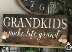 Grandkids Make Life Grand Wood Sign by QueenBHome on Etsy