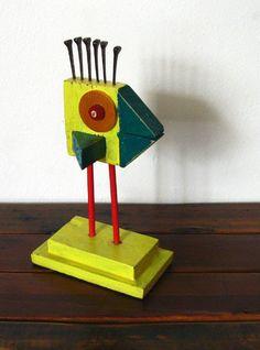 Folk Art Bird Made From Vintage Reused Lumber by LindaSheetsArt, $35.00