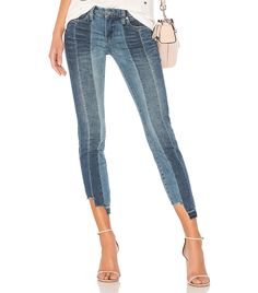 BlankNYC High and Low Skinny Two tone jeans. White Skinny Jeans, Super Skinny Jeans, Skinny Legs, Frayed Hem Jeans, Faded Jeans, Two Toned Jeans, Patchwork Jeans, Denim Trends, Blank Nyc