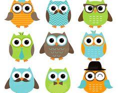 Boy Owl Orange Green Blue Digital Clipart by AbsolutelyJanie Owl Crafts, Paper Crafts, Buho Logo, Owl Lantern, Owl Clip Art, Owl Classroom, Purple Owl, Retro Arcade, Bird Pictures