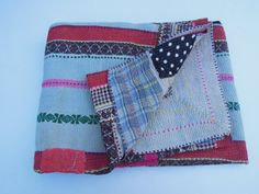 Reversible Kantha Quilt Blanket Antique Heavy Kantha by Labhanshi, $75.00