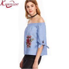 New 2017 Fashion Plus Size Loose Women Blouses Half Sleeve Floral Embroidery Denim Shirt Tops Slash Neck Casual Summer Blusas #Affiliate