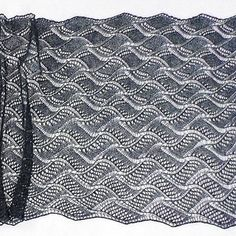 Turbulent Indigo is a richly textured lace stole pattern with mesmerizing ripples created by numerous variations on a lace wave pattern.