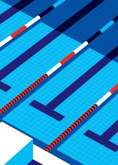 "Malika Favre - ""Sport et Style - Fields - Swimming"" • un-kitchy, classic art poster style à la Art Deco & Bagel cocktail • french graphic illustrator • official site: http://malikafavre.com"