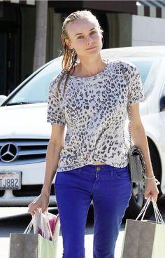 @roressclothes clothing ideas #women fashion Diane Kruger Animal Print Knit Top