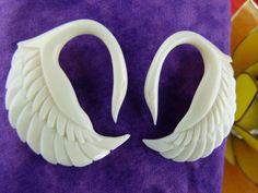 8 Gauge White Swan Earring