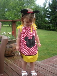 Mickey Mouse pillow case dress for a special little girl on her second birthday