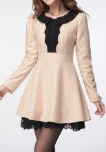 Apricot Patchwork Lace Pleated Peter Pan Collar Wool Dress