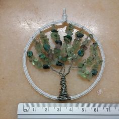 Tree of Life with amazonite & turquoise chips and laced frame.