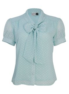 The Paula baby blue pussy bow blouse has a tie neck and a fine dot design over sheer fabric. With short sleeves, the perfect work wear piece.