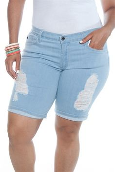 8efe3f5aef9 Shred Case Plus Size Distressed Jean Shorts - L Blue from Kancan USA at Lucky  21 ☺ ☺