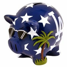 The Thematic Piggy Banks are uniquely designed with a theme of your favorite teams! Each piggy bank comes specially molded, made of resin and hand painted. Let's Go Dodgers, Dodgers Jerseys, Dodgers Baseball, Wooden Piggy Bank, Large Piggy Bank, Baseball Store, Pig Bank, Mlb Teams, Best Fan