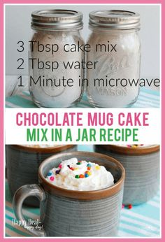 Chocolate Mug Cake Mix in a Jar Recipe! in the microwave - ridiculously easy! Chocolate Mug Cake Mix in a Jar Recipe! in the microwave - ridiculously easy! Easy Mug Cake, Cake Mug, Cake Mix In A Jar Recipe, Cake In A Jar, Whole Foods Cake, Easy Chocolate Mug Cake, Chocolate Jar, 3 Ingredient Mug Cake, Mugcake Recipe