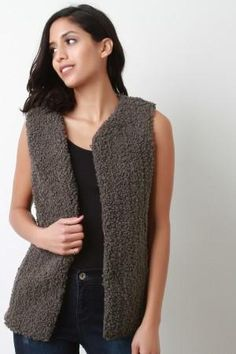 This sleeveless vest features a plush curl texture knit construction, seamless open front with hook-n-eye clasp closure, hidden side pockets, and fully lined. Summer Crop Tops, Knit Vest, Lace Tops, Fashion Forward, Curls, Clothes For Women, Knitting, Texture, Casual