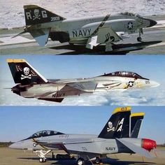 and Three generations of the Jolly Rogers. Coolest paint scheme ever. Us Navy Aircraft, Us Military Aircraft, Military Jets, Military Weapons, Airplane Fighter, Fighter Aircraft, Fighter Jets, Tomcat F14, Grumman Aircraft