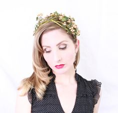 1950s Fascinator / VINTAGE / 50s Hat / Pearls / Woodland / Leaves / SUMMER