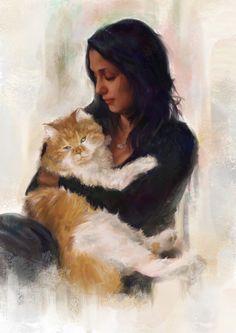 Cat and girl, Alexander Nanitchkov on ArtStation at…