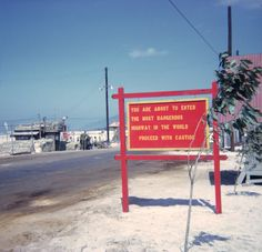 Entrance to Highway 1 in South Vietnam from an Army base during the Vietnam War.
