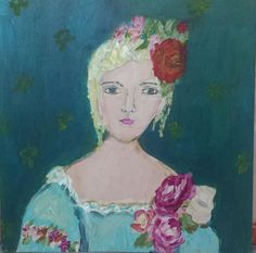 Mitzi Woman Art Painting and Print  Woman And Roses  by femmehesse