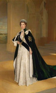 Queen Elizabeth chose the Vlad tiara, with emerald drops to enhance the green velvet Order of the Thistle robes. Painting by William Oliphant.