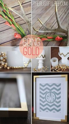3 Simple DIY Gold Home Decor Accents | The Blissful Bee featured on Remodelaholic.com #gold #homedecor #diy @Remodelaholic .com