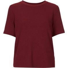 TOPSHOP Crepe Boxy Tee ($30) ❤ liked on Polyvore featuring tops, t-shirts, shirts, topshop, mulberry, topshop tops, red shirt, shirts & tops, red top and crepe top