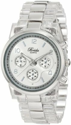 """Breda Women's 2310-Clear """"Dakota"""" Clear And Silver Two-Tone Watch Breda. $37.80. Water-resistant - not recommended to take into deep water or shower. Clear and silver acrylic three-link band with fold-over-clasp. Highest Standard Quartz movement. Sleek Silver metal bezel. Silver dial marked with three non-working sub-dials, contrasting hour markers and hands"""