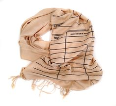 Library Date Due scarf. Black silkscreen print. Linen weave pashmina your choice of sandy beige scarf & more. Perfect librarian gift.