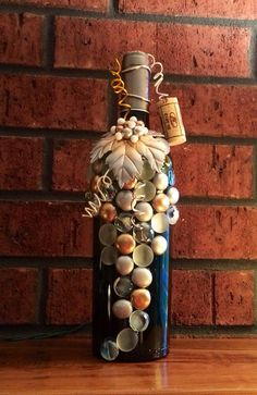 Silver, White, and Gold Upcycled Wine Bottle Light, Night Light, Bottle Lamp, Grapes Design, Wedding and Wine Decor