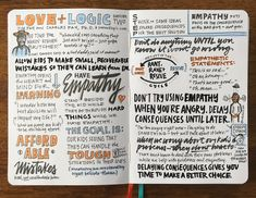Love + Logic video seminar sketchnotes, week 2.