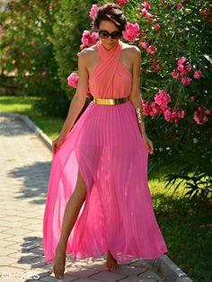 Pin V-neck Maxi Dress With Belt | Choies