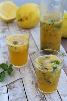 Suco de maracujá, laranja e gengibre