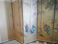 Buy Antique 6-Panel Japanese Byobu Handpainted Ink on Paper Screen ~ 19th century (Edo/Meiji Period) for R17,500.00