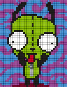 Gir  (from Invader Zim) Square Perler Bead Pattern / Bead Sprite