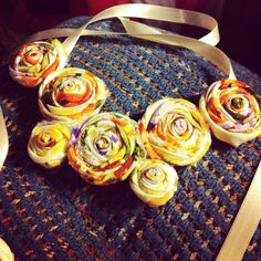 Vintage Fabric Flower Necklace