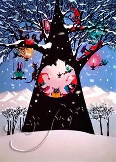 藤城清治(Seiji Fujishiro) 雪の中の木の遊び