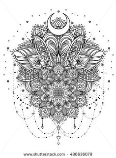 Vector ornamental Lotus flower with moon and arabesque, ethnic art, patterned Indian paisley. Hand drawn illustration. Invitation element. Tattoo, astrology, alchemy, boho and magic symbol.