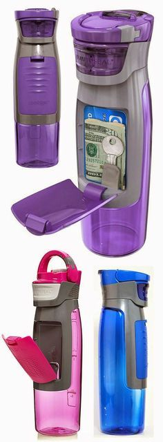 This awesome bottles holds all your accessories when working out. Genius! Get it HERE!         This water bottle holds cards, keys, m...