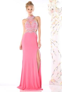 Long Prom Dress CDCK60. Long Prom and Evening Gown with Sparkling Jewel and Beading Embellished Bodice has Halter Neck with Illusion Detailing, Open Back and Side Cutouts, Solid Color Floor Length Skirt with Invisible Zipper Closure on Back, High Side Slit and Sweeping Train Detail. https://www.smcfashion.com/wholesale-prom-dresses/prom-dress-cdck60