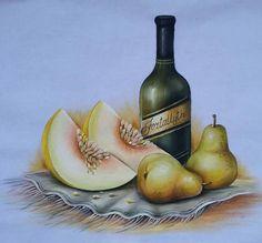 Pintura em tecido Colored Pencils, Still Life, Screen Printing, Pear, Weaving, Fruit, Painting, Vintage, 1