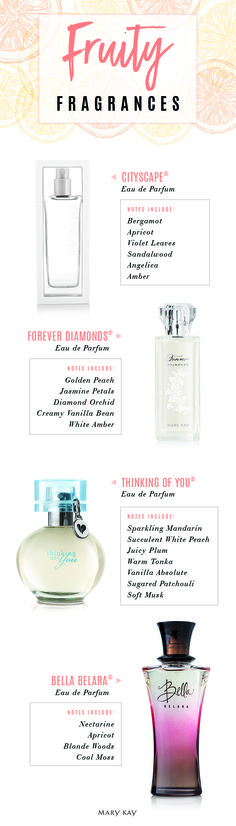 Summer scents are in full bloom! These energetic fruity fragrances make a special gift for your mom, sister or a bride-to-be.   Mary Kay www.MaryKay.com/Tkess07