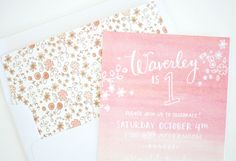Oh So Beautiful Paper: Peach-Pink-Ombre-Birthday-Party-Invitations-Printerette-Press Teen Birthday Invitations, Baby Invitations, First Birthday Invitations, Invitation Envelopes, First Birthday Parties, First Birthdays, Birthday Celebration, Invites, Baby Thank You Cards