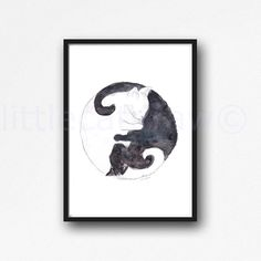 Yin Yang Black And White Cats Watercolor Painting Cat Lover Art Print Watercolour Print Watercolour Wall Art Watercolor by Littlecatdraw on Etsy https://www.etsy.com/listing/267572338/yin-yang-black-and-white-cats-watercolor