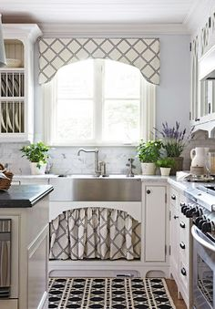 White Kitchen...love the curtains