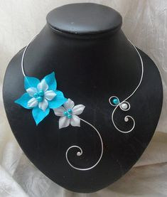 Collier mariée fleurs de soie turquoise blanc mariage by Zalanya, $39.00
