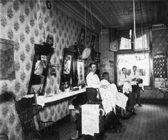 Colorado Springs barbershop: Interior view of a barbershop, Colorado Springs, El Paso County, Colorado. June 15, 1909