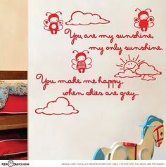 """You Are My Sunshine Vinyl Rhyme Wall Art Sticker Decal Children Kids by StickTak Stickers. $28.95. Made from high quality AVERY brand removable vinyl (not repositionable). !!!  DO NOT FORGET TO EMAIL US YOUR COLOUR PREFERENCE FOR YOUR STICKER  !!!. Cute StickTak Stickers design. Please refer to our image gallery for exact measurements - when laid out on the wall is approx. W39"""" x H24"""" (100cm x 60cm). Great for Nurseries, Dorms, Kids Rooms, Windows. Easy to apply to smoo..."""