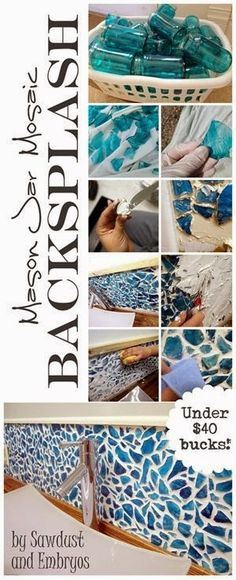 Mosaico com vidro - DIY Mason Jar Kitchen Backsplash. Glass dye the inside of mason jars. Smash the jars to create glass 'tiles'. Attach the tiles to your wall. Mosaic Projects, Home Projects, Craft Projects, Projects To Try, Craft Ideas, Mosaic Crafts, Decorating Ideas, Mason Jar Kitchen, Mason Jars