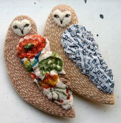 kittens with mittens: barn owl brooches
