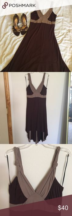 Beautiful Guess Jeans high-low dress, Small Beautiful Maroon/brown and taupe Guess Jeans high-low dress, Small. WORN TWICE! Excellent condition! 💜 Nine West shoes in separate listing Guess Dresses High Low
